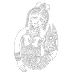 Black and white line drawing of mermaid vector