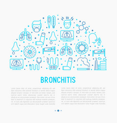 Bronchitis concept with thin line icons vector