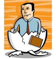 Businessman comes out an egg vector