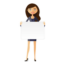 businesswoman holding white blank poster vector image