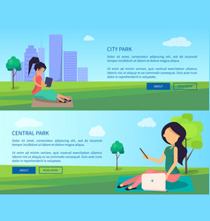 central city park banners with people and gadgets vector image