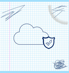cloud and shield with check mark line sketch icon vector image
