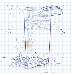 Cocktail Moscow Mule on a notebook page vector image