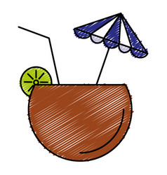 Coconut cocktail with umbrella vector