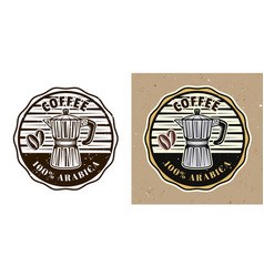 Coffee shop round emblem with moka pot vector