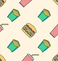 cola hamburger french fries colored outline vector image