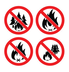 collection no forest fire icons vector image