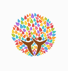 Color tree people symbol for community team help vector