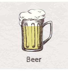 Colorful of hand drawn sketch of beer mug vector