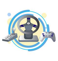 computer joystick steering wheel and gearbox in vector image