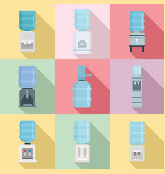 Cooler water icon set flat style vector