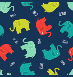 Cute elephant seamless pattern background vector