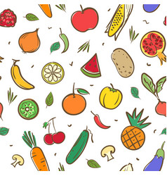 cute mix fruits and vegetables seamless pattern vector image