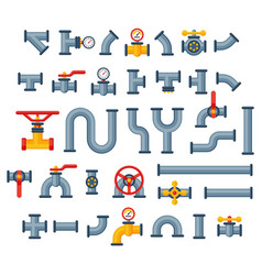 details pipes different types collection of water vector image