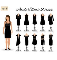 fashion model woman in little black dress set of vector image