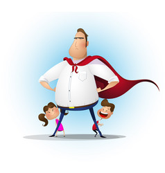 father daughter and son playing superhero at the vector image