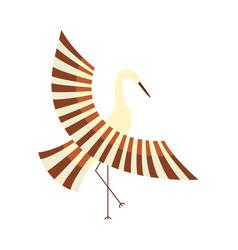 Flat cartoon japan crane flapping wings vector