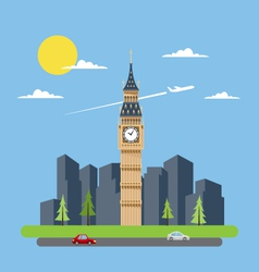 Flat design of Big Ben vector image