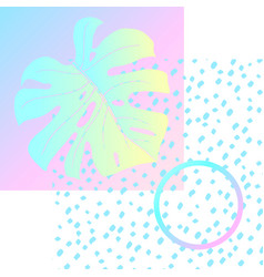 Geometric poster monstera memphis in vaporwave vector