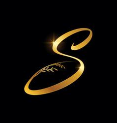 golden letter s monogram initial sign vector image