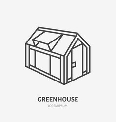 Greenhouse flat line icon garden cold frame sign vector