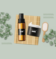 Hair care set cosmetics realistic shampoo vector