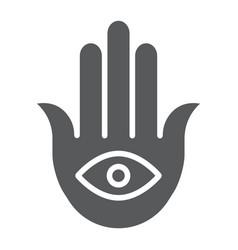 Hamsa glyph icon luck and talisman hand sign vector