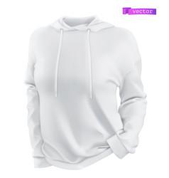 hoodie white sweatshirt mockup 3d realistic vector image