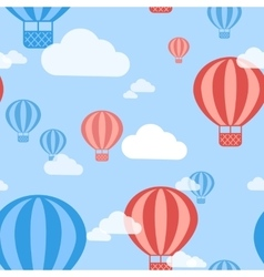 Hot Air Balloon Seamless Pattern Background vector image