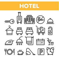 Hotel accommodation room amenities linear vector