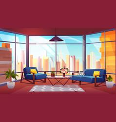 Hotel suite in skyscraper cartoon interior vector