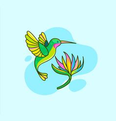 Hummingbird flying near flower vector