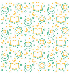 Islamic icon pattern ornament open book quran vector