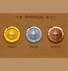 isolated gold silver and bronze ethereum old vector image