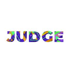 Judge concept retro colorful word art vector