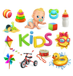 kids and toys children playground 3d icons set vector image
