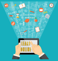 Learn online with tablet on blue background vector