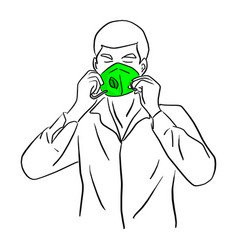 man wearing green mask sketch vector image