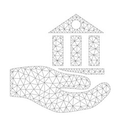 mesh bank service palm icon vector image