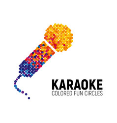Microphone logo made with color circles karaoke vector