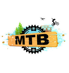 Mountain biking downhill freeride extreme sport vector