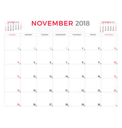 November 2018 calendar planner design template vector