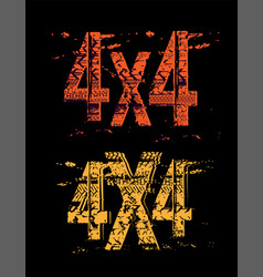 Off-road grunge 4x4 lettering vector