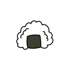 Onigiri doodle icon vector