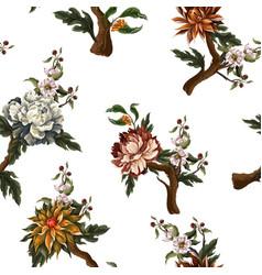 ornate seamless pattern with vintage peonies vector image