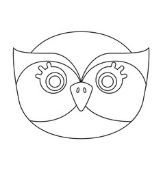 Owl muzzle icon in outline style isolated on white vector