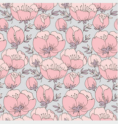 pink flowers seamless hand drawn pattern vector image