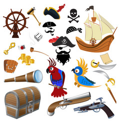 pirate icons detailed set vector image