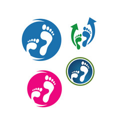 Podiatric care foot print logo design icon vector