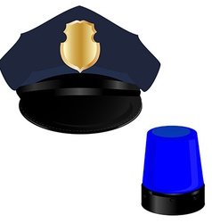 Police hat and light vector image